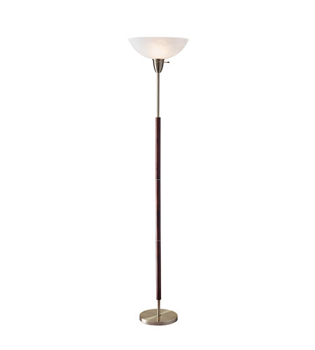 Adesso Hamilton 1 Light Tall Torchiere in Walnut and Antique Brass with Alabaster Frosted Glass Bowl Shade 3378-15 photo