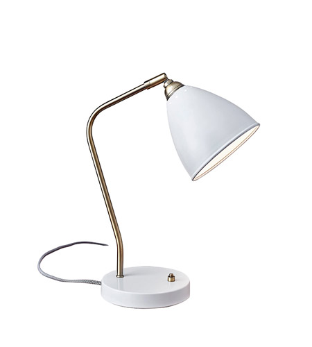 Adesso 3463-02 Chelsea 16 inch 60 watt Painted Brass and White Desk Lamp Portable Light photo
