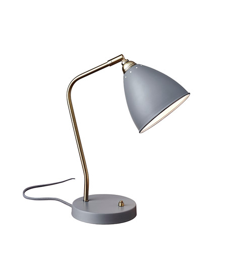 Adesso 3463-03 Chelsea 16 inch 60 watt Painted Brass and Grey Desk Lamp Portable Light photo