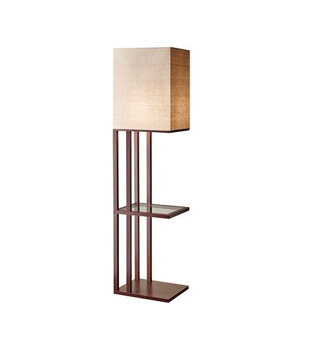 Adesso Baxter 1 Light Shelf Floor Lamp In Walnut With Off