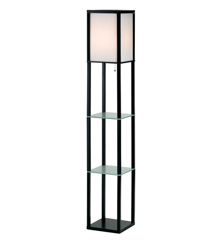 Adesso Berk 1 Light Shelf Floor Lamp in Black 3603-01 photo