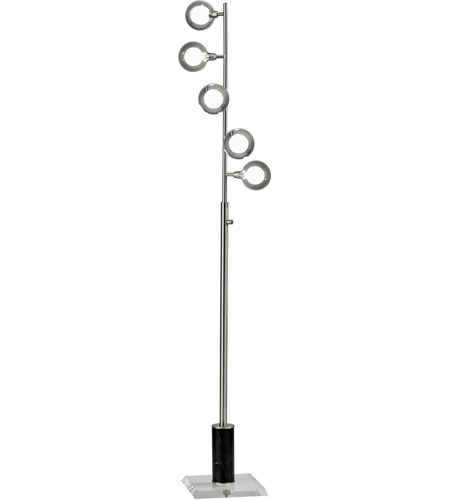 Adesso Brushed Steel Glass Floor Lamps
