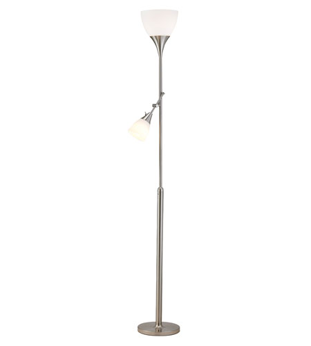 Adesso Tulip 2 Light Combo Floor Lamp in Satin Steel 3664-22 photo