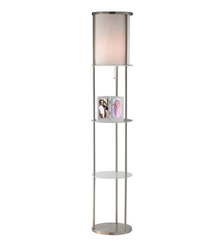 Adesso Holden 1 Light Shelf Floor Lamp In Satin Steel 3666-22