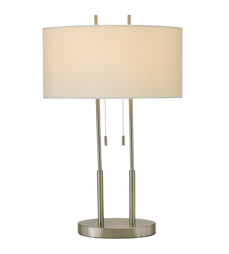 Adesso Duet 2 Light Table Lamp In Satin Steel 4015-22