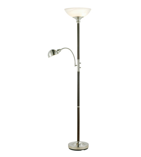 Adesso Lexington 3 Light Combo Tall Floor Lamp in Walnut 4052-15 photo