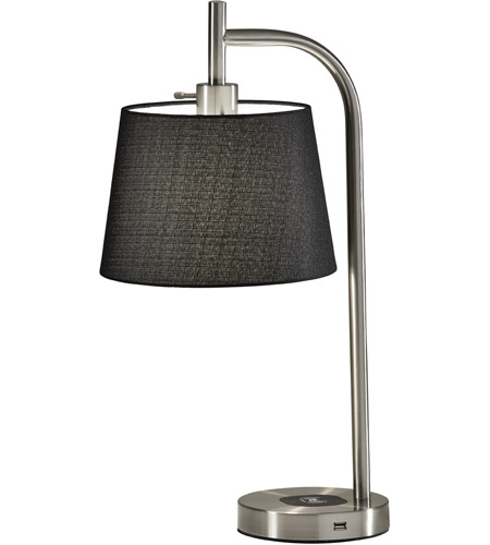 Adesso Brushed Steel Fabric Table Lamps