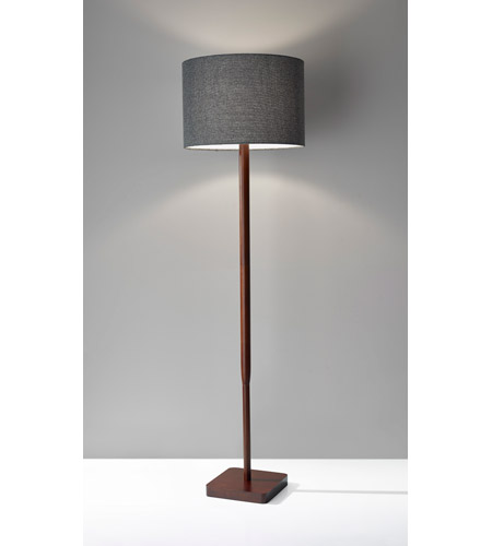 adesso floor lamp uk 5169 02 harper white shade watt walnut wood grain portable light twist dark