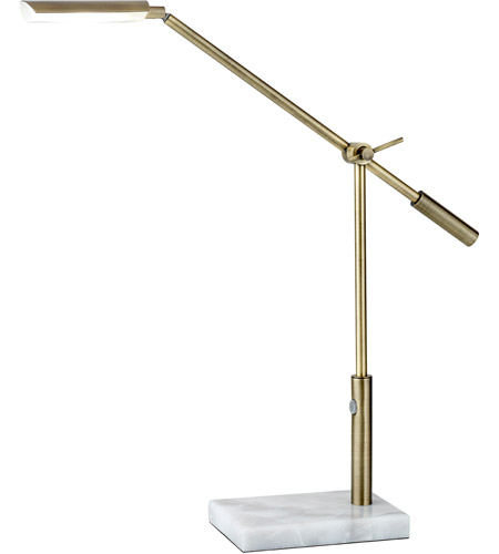 Adesso Vera 1 Light Desk Lamp In Antique Brass 4128 21