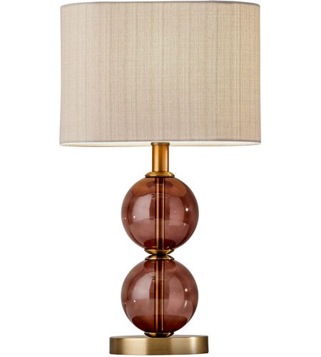 Adesso 4147 21 Donna 18 Inch 60 Watt Antique Brass And Burgundy Red