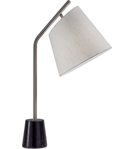 Adesso Brushed Steel Marble Table Lamps