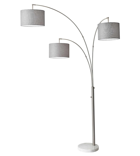 Adesso 4250 22 bowery 74 inch 100 watt brushed steel arc lamp portable light photo