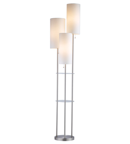 Adesso trio 3 light floor lamp in satin steel 4305 22 for Arabella 3 light satin steel floor lamp