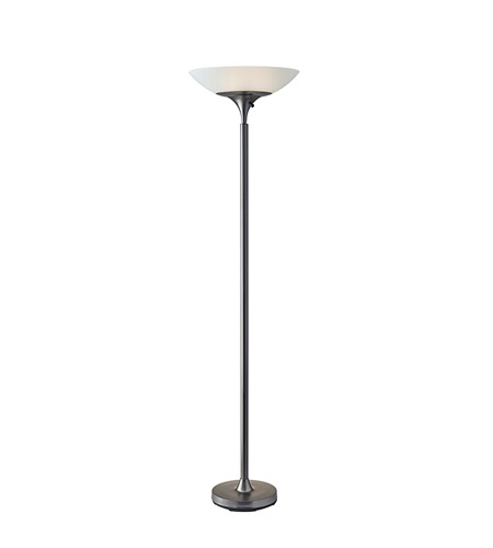 Adesso Jasper 2 Light Torchiere in Matte Black Nickel with Frosted Glass Bowl Shade 5067-01 photo
