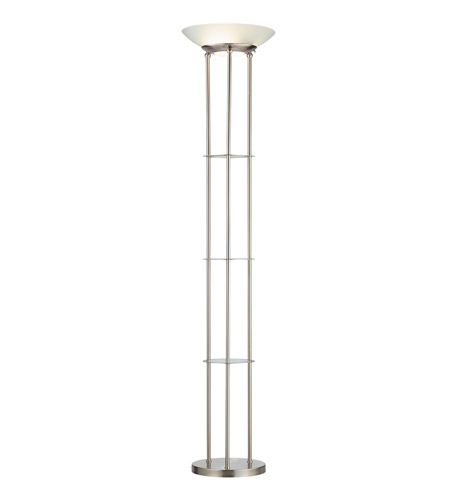 Adesso Hayley 2 Light Shelf Floor Lamp in Satin Steel 5152-22 photo