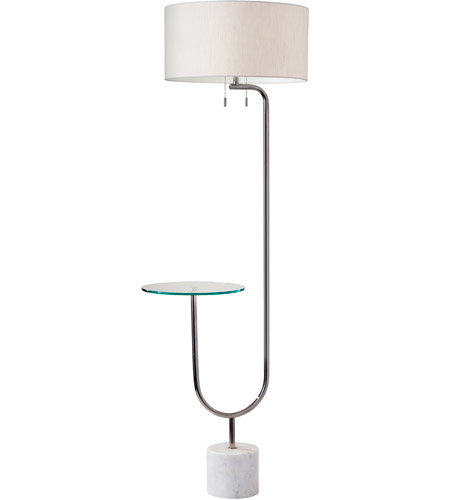 Adesso 5426 22 Sloan 65 Inch 60 Watt Polished Nickel And White Marble Floor Lamp Portable Light