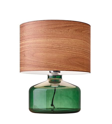 Adesso 6028-05 Jade 15 inch 60 watt Green Painted Glass Table Lamp Portable Light photo