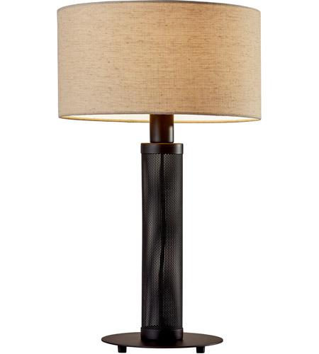 Adesso 6157 01 Benjamin 25 Inch 60 Watt Matte Black Perforated Metal Table Lamp Portable Light
