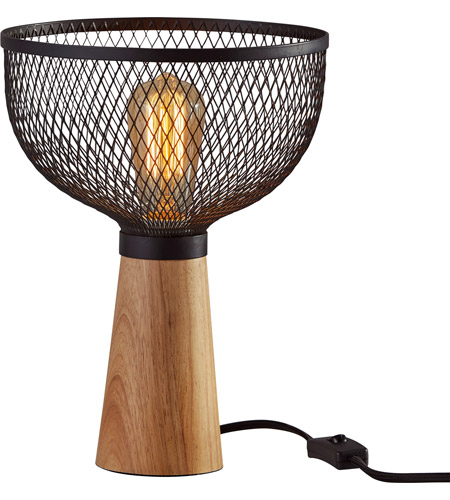 Wood and Black Metal Table Lamps