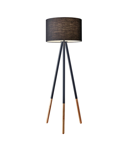 Adesso 6285-01 Louise 60 inch 150 watt Black Painted Metal with Wood Tips Floor Lamp Portable Light photo