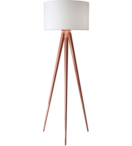Adesso 6424-20 Director 60 inch 150 watt Brushed Copper Floor Lamp Portable Light photo