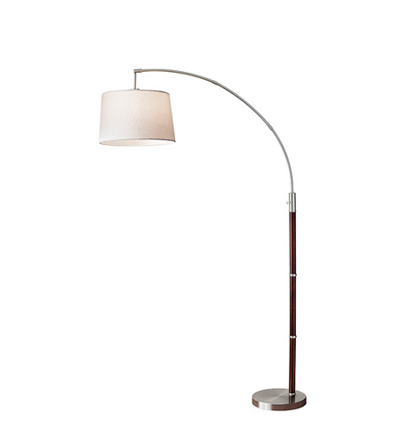 Adesso 7208-15 Alta 75 inch 150 watt Walnut and Brushed Steel Floor Lamp Portable Light photo