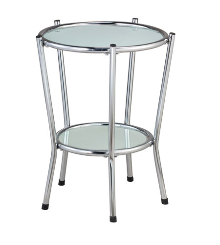 Adesso Cosmopolitan End Table in Chrome/Frosted Glass HX4861-22 photo