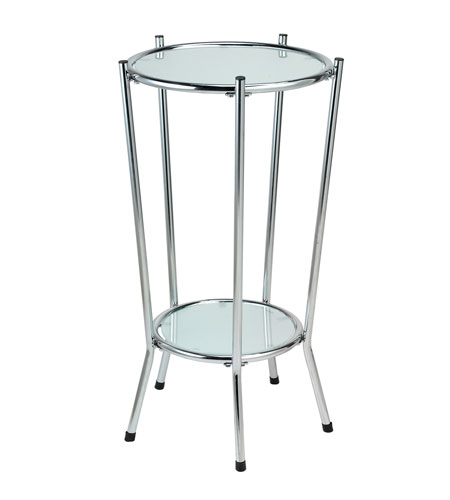 Adesso Cosmopolitan Tall Pedestal in Chrome/Frosted Glass HX4862-22 photo