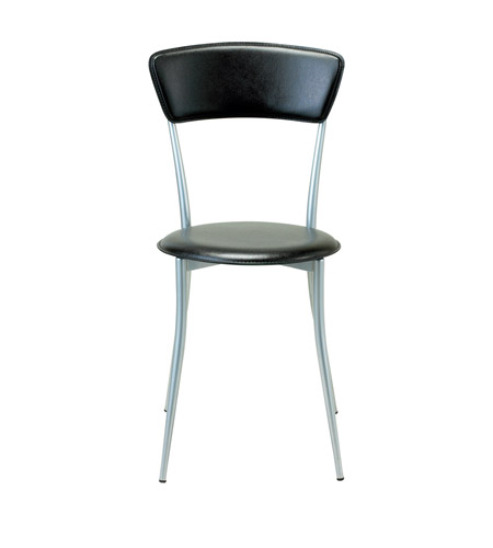 Adesso Cafe Chair in Black Leather/Steel WK2843-01 photo