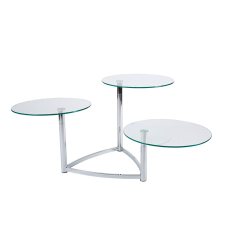 Adesso Cascade Swivel Glass Table in Steel/Glass WK5106-22 photo