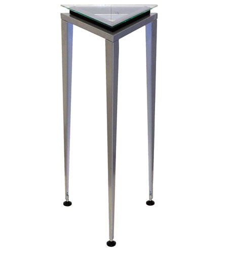 Adesso Reflections Tall Pedestal in Steel/Glass/Black Trim WK5108L-01 photo