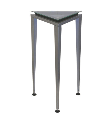 Adesso Reflections Medium Pedestal in Steel/Glass/Black Trim WK5108M-01 photo