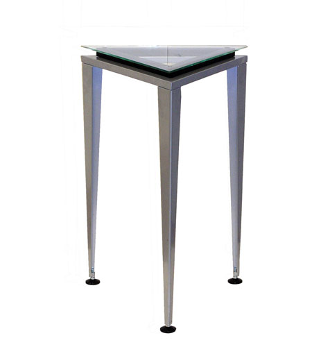 Adesso Reflections Short Pedestal in Steel/Glass/Black Trim WK5108S-01 photo