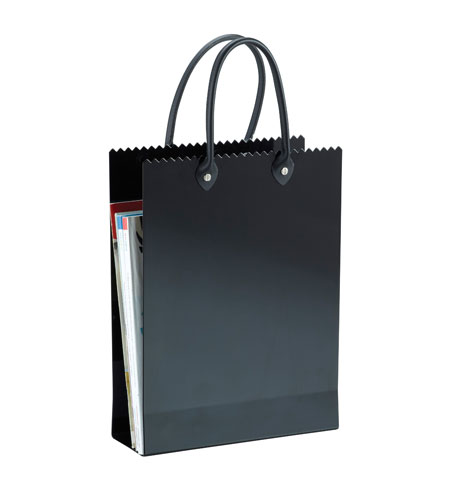 Adesso Tote Magazine Rack in Shiny Black WK7800-01 photo