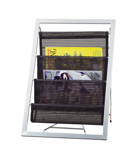Adesso Signature Magazine Rack in Black/Steel WK7802-01 photo