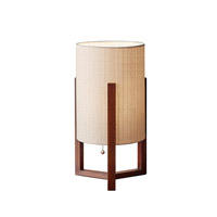 Adesso Quinn 1 Light Decor Table Lamp in Walnut with Natural Fiber Linen Tall Drum Shade 1502-15