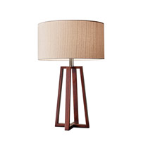 Adesso Quinn 1 Light Decor Table Lamp in Walnut with Natural Fiber Linen Drum Shade 1503-15