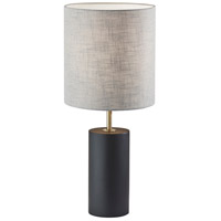 Adesso 1507-01 Dean 31 inch 100 watt Black Poplar Wood with Antique Brass Accent Table Lamp Portable Light