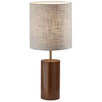 Adesso 1507-15 Dean 31 inch 100 watt Walnut Poplar Wood with Antique Brass Accent Table Lamp Portable Light