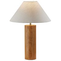 Adesso 1509-12 Martin 26 inch 100 watt Natural Oak Wood with Antique Brass Accent Table Lamp Portable Light