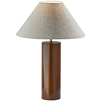 Adesso 1509-15 Martin 26 inch 100 watt Walnut Poplar Wood with Antique Brass Accent Table Lamp Portable Light