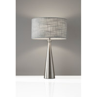 Linda 22 inch 100 watt Table Lamp Portable Light in Brushed Steel