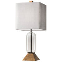 Kennedy 24 inch 150 watt Clear Glass and Natural Birch Wood Table Lamp Portable Light