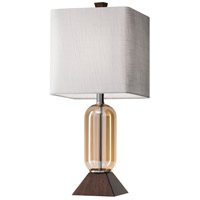 Kennedy 24 inch 150 watt Amber Glass and Walnut Birch Wood Table Lamp Portable Light