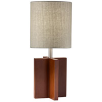Marcus 26 inch 100 watt Walnut Birch Wood with Brushed Steel Accents Table Lamp Portable Light