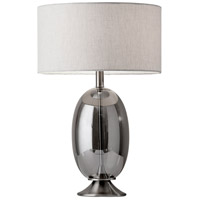 Bailey 23 inch 150 watt Brushed Steel and Smoked Glass Table Lamp Portable Light