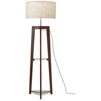 Adesso 3007-15 Henderson 60 inch 150 watt Walnut Ash Wood Floor Lamp Portable Light