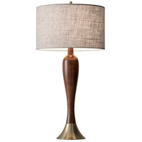 Claudia 28 inch 100 watt Walnut Poplar Wood and Antique Brass Table Lamp Portable Light
