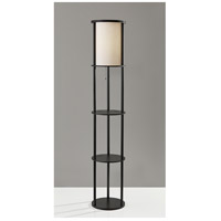 Stewart 63 inch 150 watt Black Shelf Floor Lamp Portable Light