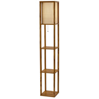 Wright 63 inch 150 watt Natural Wood Veneer Shelf Floor Lamp Portable Light